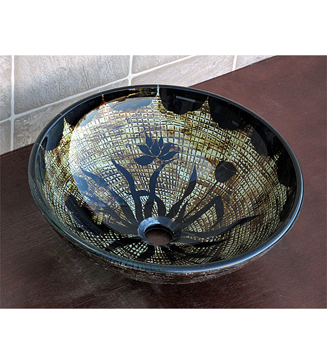 Rustic Antique Brown Tone Glass Vessel Sink (CH9136)