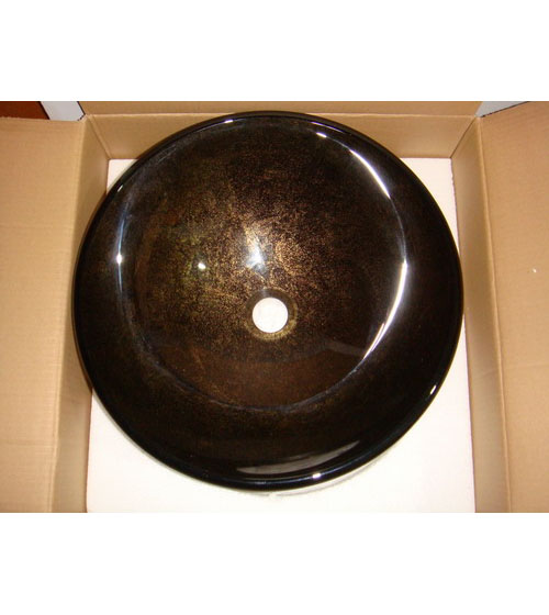 Brown with gold and bronze glass vessel sink bowl (BN6140)
