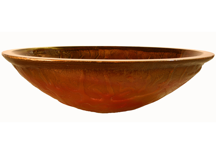 Gold Sink Bowl : Gold and copper red oval glass vessel sink bowl (SRG9028)