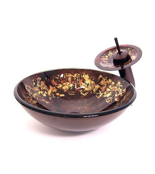 Antique copper brown with gold flakes vessel sink (CH6023)