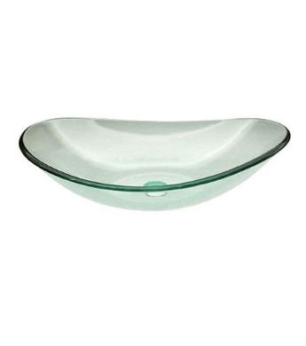 Clear doubled tempered glass vessel sink bowl (C-C1002)