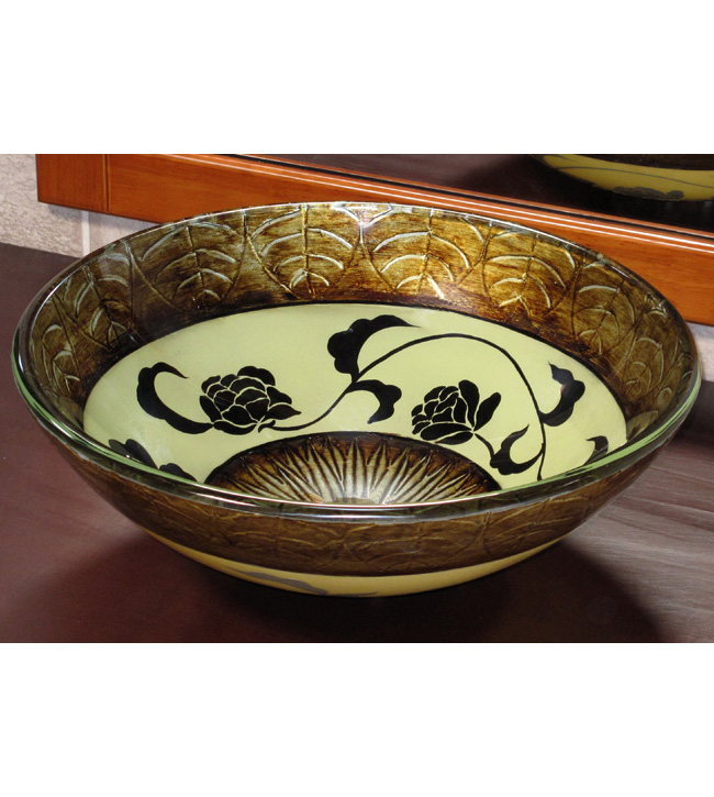 Golden bronze glass vessel sink (CH9088)
