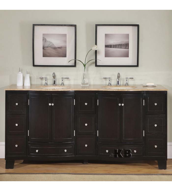 Traditional 72'' double bathroom vanities vanity sink (KB703D)