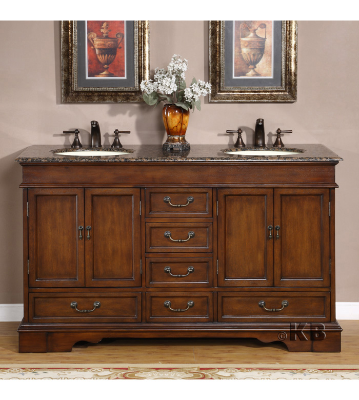 Traditional 60\'\' double bathroom vanities vanity sink (KB715)