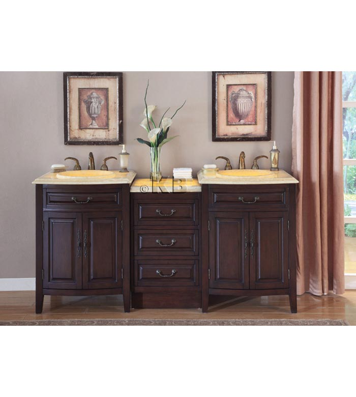 Traditional LED 72'' double bathroom vanities vanity sink (KB726)