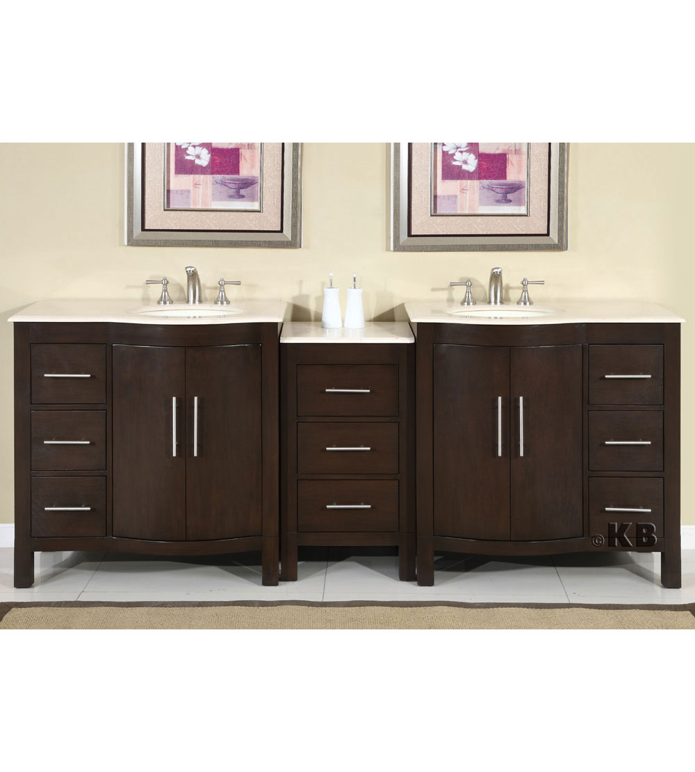 Traditional 89'' double bathroom vanities vanity sink (KB912)