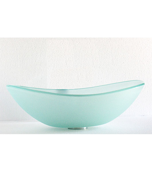 Frosted doubled tempered glass vessel sink bowl (C-C1003)