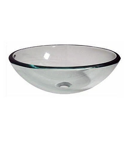 Clear double tempered glass vessel sink bowl (7081)