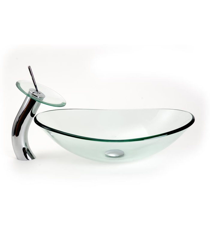 Frosted/Clear oval vessel sink with standard/waterfall faucet combo ...