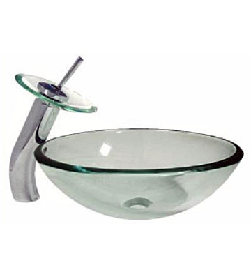Frosted/Clear vessel sink with standard/waterfall faucet combo (348SPECIAL)