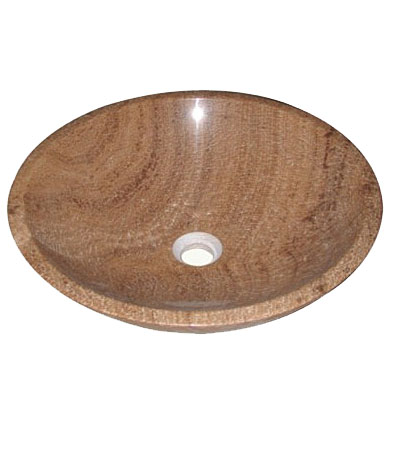Brown wood effect 100% marble stone vessel sink (SB1650)
