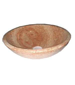 Light orange tone 100% marble stone vessel sink (SB1656)