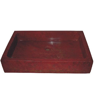 Deep red stone rectangle above counter vessel sink (SB118)