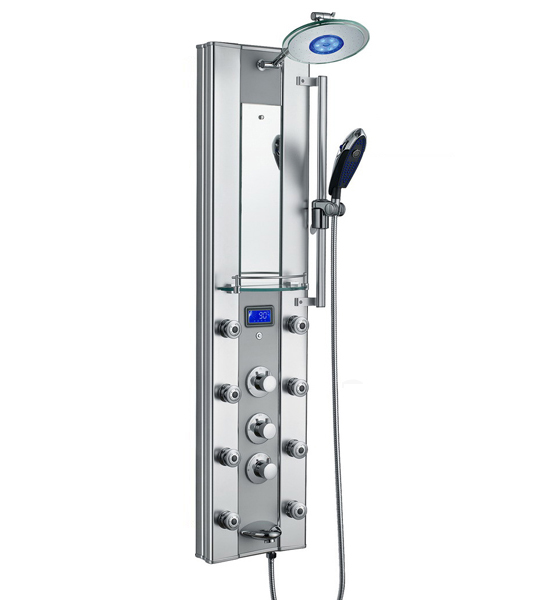 Aluminum shell brass shower panel LED LCD massage system (Z034)