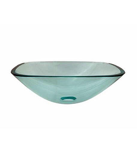 Square clear glass vessel sink bowl (Q1-N2)