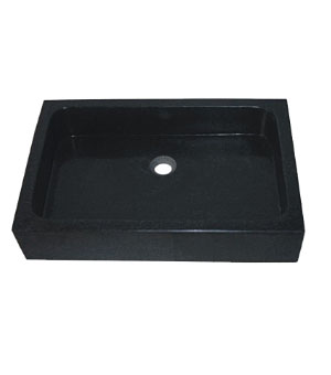 Black galaxy stone rectangle above counter vessel sink (SB116)