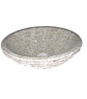 Light marble with rough outside textured stone vessel sink (SB1654)